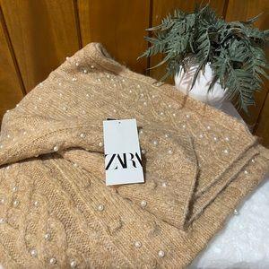 Zara: Knit Crochet Pearl Beaded Blanket Scarf Wrap